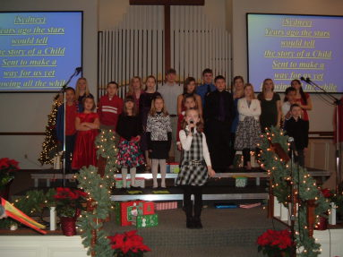 Children and youth groups in the Christmas program at the Paoli United Methodist Church.