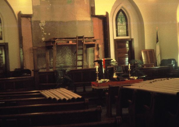 The pipe organ is disassembled to be moved to the new church building in 1972.