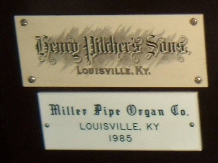 Logos of Henry Pilcher's Sons music company and the Miller Pipe Organ Company of Louisville, Kentucky.