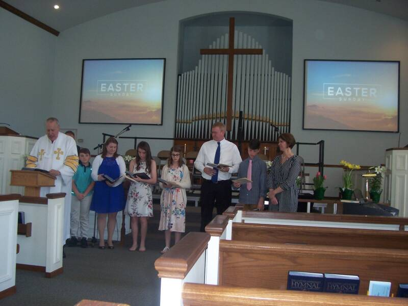 Children's time at the Easter worship service at the Paoli United Methodist Church