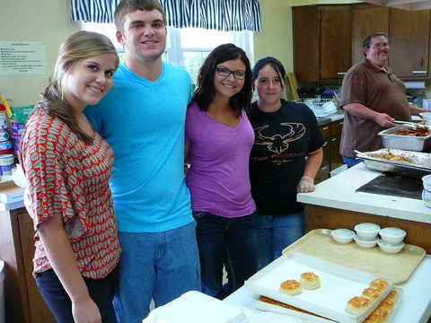 13 of the youth group helped serve at the Good Samaritan BBQ at the Paoli United Methodist Church, August 2012.