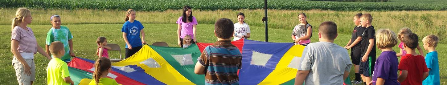 Outdoor activities at Vacation Bible School at Paoli United Methodist Church.