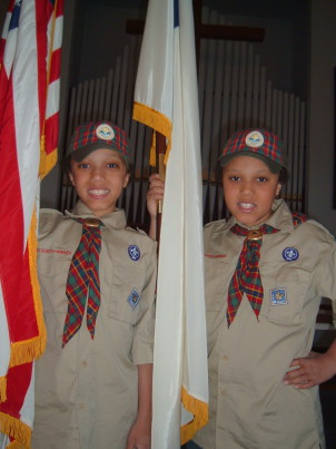 Two Cub Scouts of the troop sponsored by the Paoli United Methodist Church.
